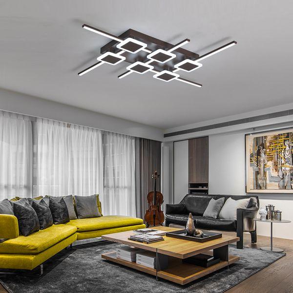 Marrón Luces Dormitorio Lampara De Plafond Techo LED Iluminación Compre Techo Color De Moderno Para El Hogar Lámpara Techo Para Salón Rectángulo D29EIH