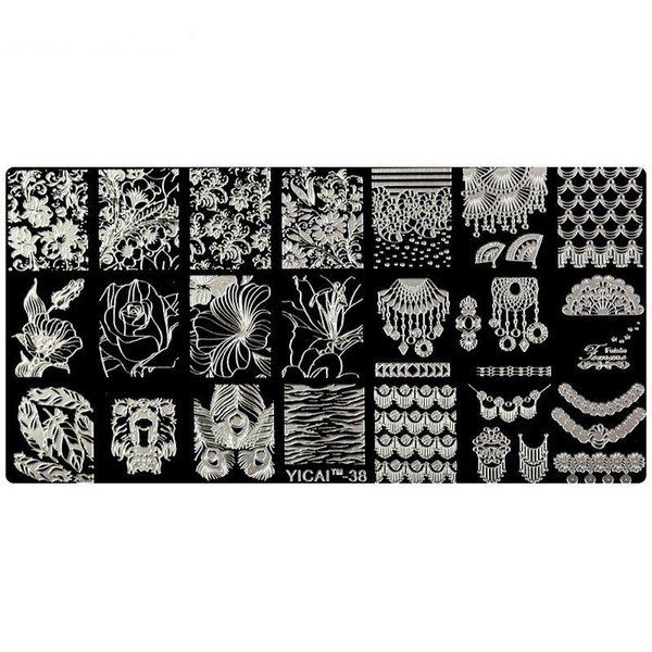 1 Pc Flower Leaf Theme Rectangle Nail Art Stamp Template Image Plate Peacock Pattern Nail Stamping Plate with White Pads YICAI38