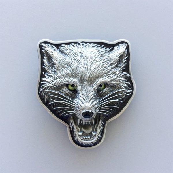 New Original Vintage Western Wolf Head Wild Animal Belt Buckle