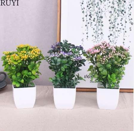 1 Set pearl fruit bonsai artificial plant with plastic vase simulation plant set decoration home table accessories office decor