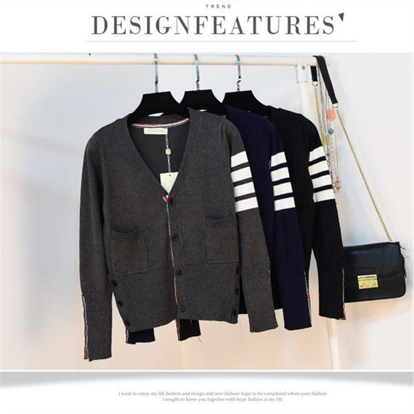New Autumn women or men Thom B Men Casual Sweater V-Neck Slim Fit Knitting Mens Sweaters And Pullovers Men