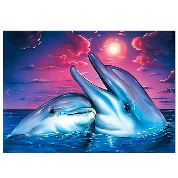 top popular Crafts Diamond Embroidery Two Dolphins 5D DIY Full Diamond Painting Kit Rhinestone Pasted Unfinish Room Decor 40 x 30cm 2021
