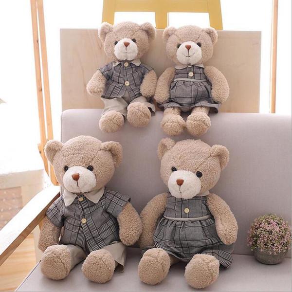 Yeni Stil Çift Teddy Bear Ile Peluş Oyuncak Yumuşak Peluş Bebek Ayı Oyuncak Çocuk Doğum Günü Hediye