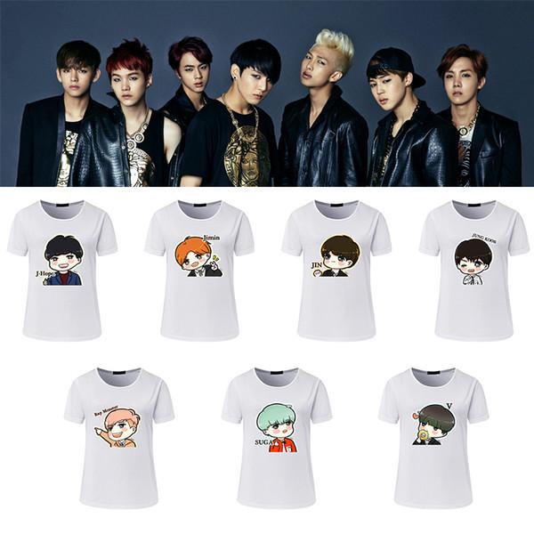 BTS Kpop Camiseta Bangtan Boys Tops Marca Camiseta Mujer Número Verano Impreso Casual Algodón Camisetas Tallas grandes