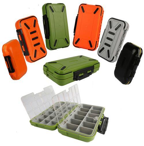 Wholesale Double Layer Hard Plastic Fishing Box For Baits or Sinkers Lure Fishing Tackle Box Fly Bass Carp Case Fishing Accessories