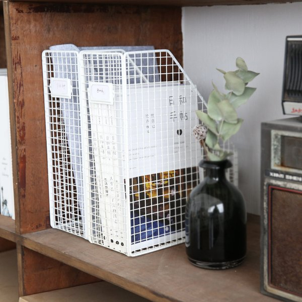 Nordic Style Rose Metal Iron Storage Basket Combination Holder Desk Desktop Accessories Stationery Organizer Magazine Holder