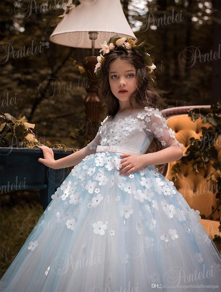 Vestidos De Primera Comunion Penlelei Kids First Communion Dresses For Little Girls Long Cute Flower Girl Dress With Hand Made Flowers Dresses Of