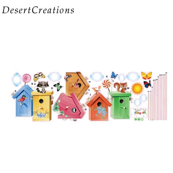 Cartoon Romantic Butterfly Birdcage Wall Stickers Kindergarten Children Room Background Decoration Stickers Home Decor