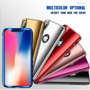 Copertura della cassa del telefono del PC duro dello specchio di placcatura del corpo completo di 360 gradi per iPhone X 8 7 6 6S più con la protezione dello schermo di vetro temperata