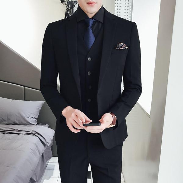 Compre Trajes De Vestir Formal De Los Hombres Puros Hombres Elegantes Delgados Vestido De Novio De La Boda Tamaño 48 56 Hombre Traje De Chaqueta Negro
