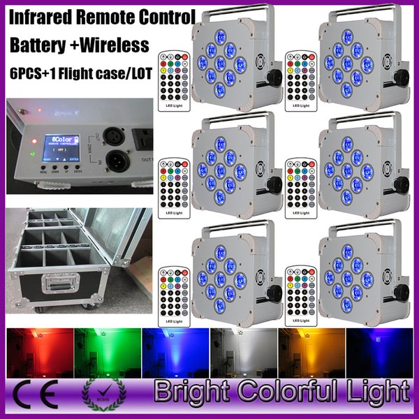 6XLOT RGBWA UV 6 IN 1 IR controller infrared Wireless LED uplights Battery Powered LED Uplights for wedding party lighting
