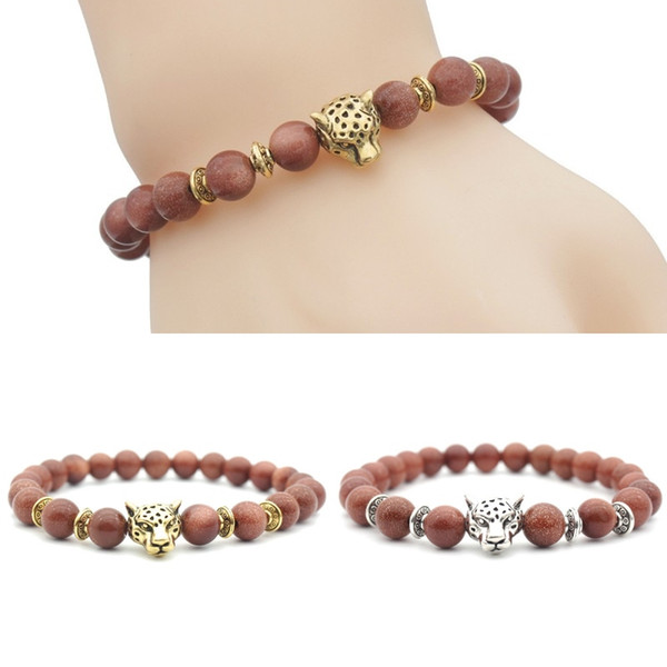 8mm Bead Stretch Bracelets Red Stone Beads Bracelets With Leopard Buddha Head Yoga Reiki Prayer Stone Bracelet Free Shipping G369S