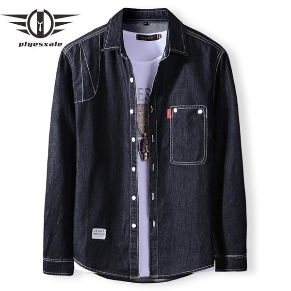 Plyesxale Black Blue Denim Shirt Men New Spring Autumn Slim Fit Chemise Jeans Homme Brand Long Sleeve Casual Shirts For Men T2