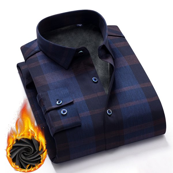 shirt men casual shirts winter thick warm shirts plaid solid color smooth elestic dress shirt camisa masculina chemise homme, White;black