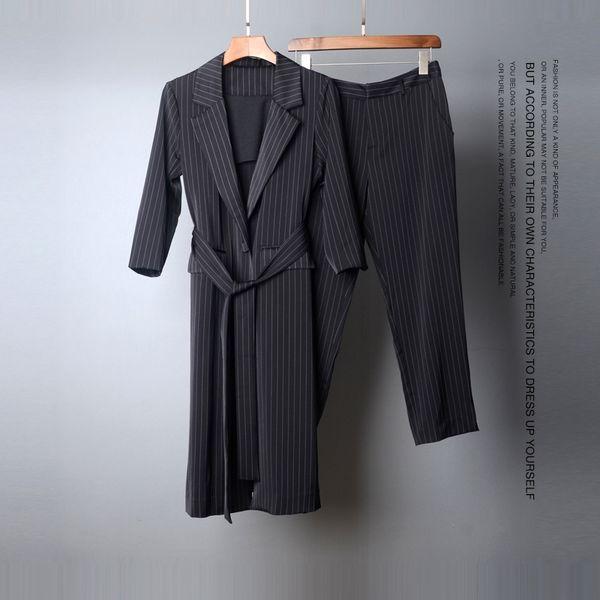 European 2018 Autumn New Arrival Business Striped 2 Piece Set Fashion Women Long Coat with Belt and Pencil Pants Suit OL Outfits