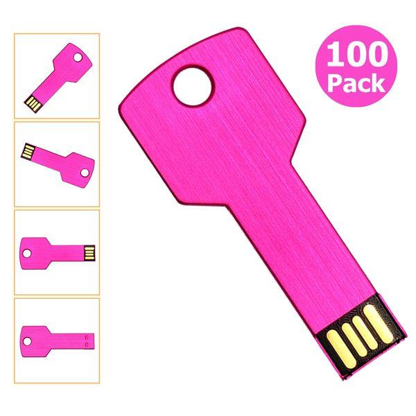 Free Shipping 100pcs 32GB USB 2.0 Flash Drives Flash Memory Stick Metal Key Blank Media for PC Laptop Macbook Thumb Pen Drives Multicolors
