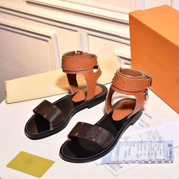 New 2018 Luxury Designer Shoes Women Sandals Geunine Leather Formal Evening Designer Slides Summer Beach Women Shoes Real Pic