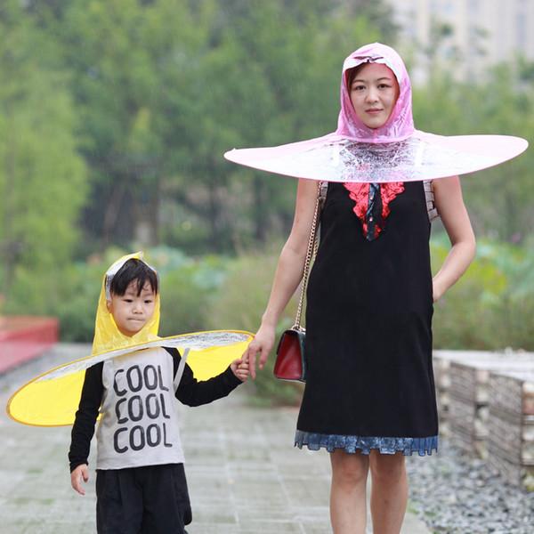 d7746c851ee 3 Colors Foldable UFO Rain Hat Portable Kids/Adult Raincoat Kids Umbrella  PEVA Material Travel