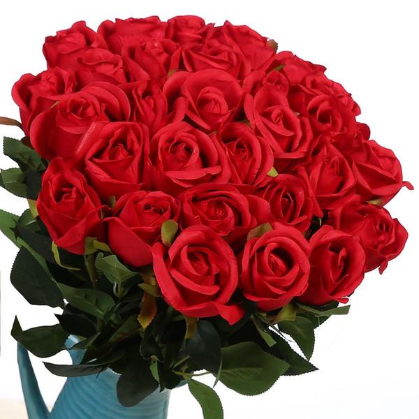 6 Optional Colors Artificial Silk Roses Wedding Bouquet for Home Garden Event Decor 10 Pcs/lot