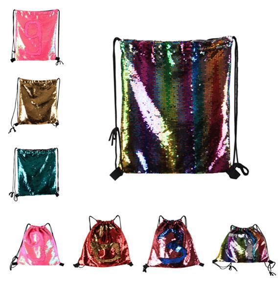 Mermaid Glitter Sequins Backpacks Drawstring Fashion Sport Gym PE Backpacks Crossbody HandBags Cosmetic Makeup Bag Tote Storage Bag LC793-1
