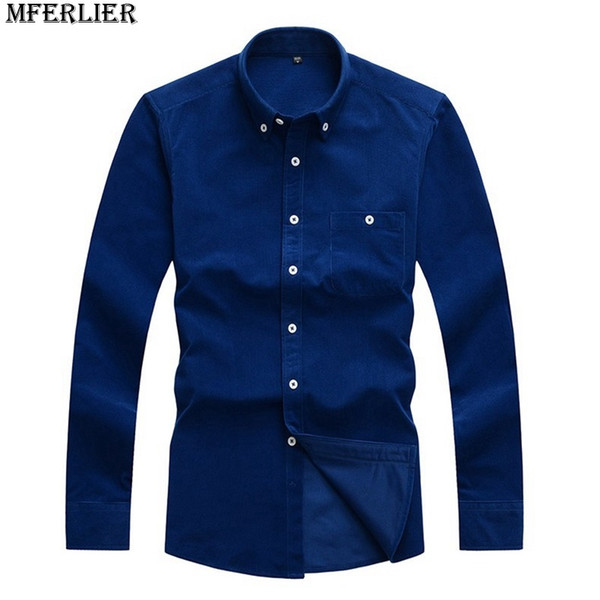 MFERLIER Herrenhemd Cord langärmelige Baumwolle großen Verkauf 4XL 5XL Tasche warmen Herbst Winter blau rot casual Dress Shirt Männer Bluse