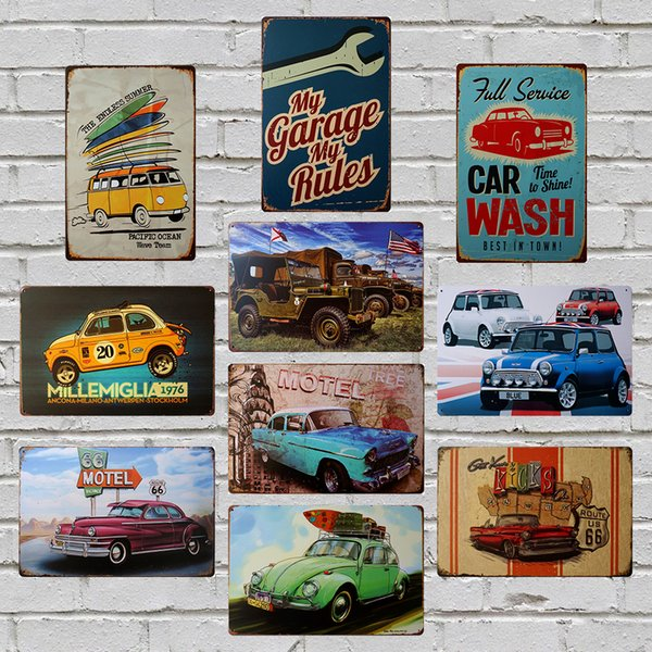 Green Car 8X12 inch Metal Tin Sign Garage Barn Gallery Coffee ShopClub Bar Pub Home Wall Decor Vintage Plaque Retro Plate