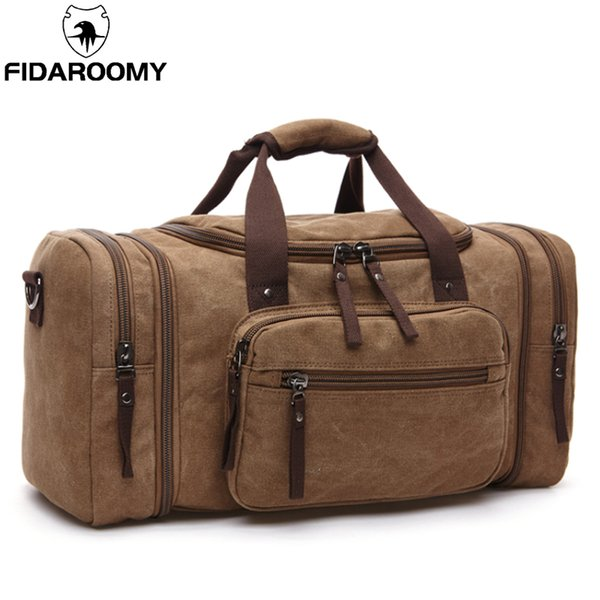 b02f695a6f8c Men Travel Bag Canvas Multifunction Leather Bags Carry On Luggage Bag Men  Tote Large Capacity Utility Weekend Overnight Cheap Duffle Bags Backpacks  ...