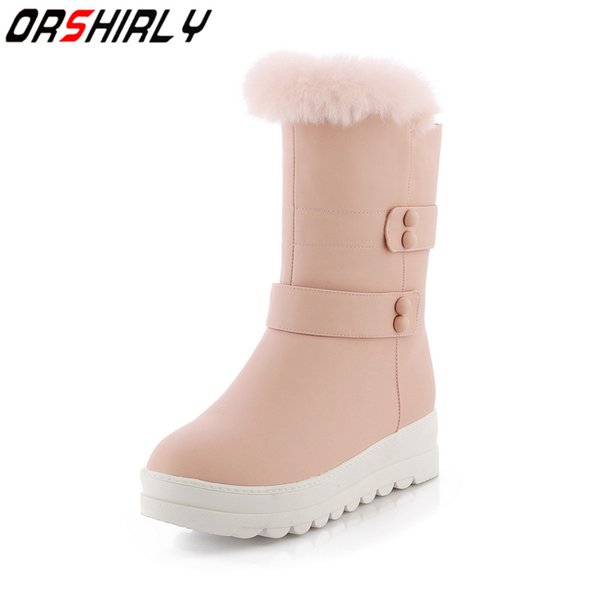 Orshirly Women Mid-Calf Snow Boots Winter Shoes Fur Warm Fashion Solid casual handmade for ladies free shipping hot sale