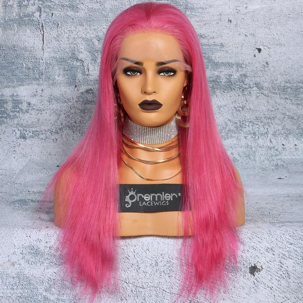 Großhandel Premier Top 10a Volle Spitze Menschenhaar Perücken Brasilianische Jungfrau Haar Rosa Farbe Gerade 130 Dichte Natürlicher Haarstrich Mit