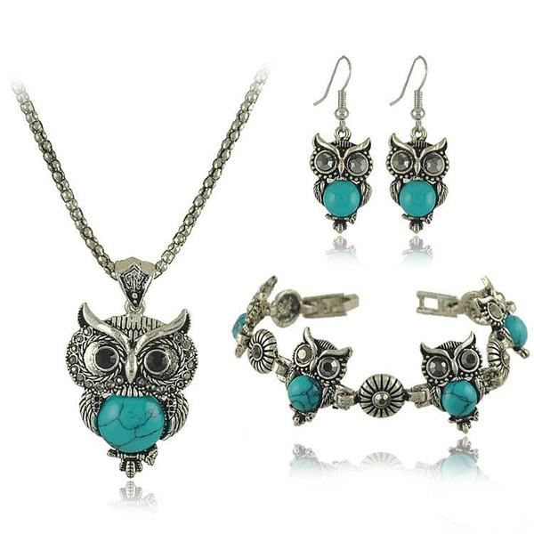 Jewelry Sets Acrylic BLUE Owl Necklace BRACELET Earrings Bird Choker Collar Fashion Jewelry News Spring Women Girl Gift