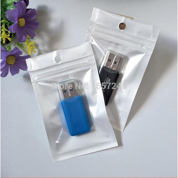Small 6*10cm White/Clear Self Seal Zipper Plastic Packing Bag Zip Lock Storage Bag for Card Reader Ring Finger Holder Display