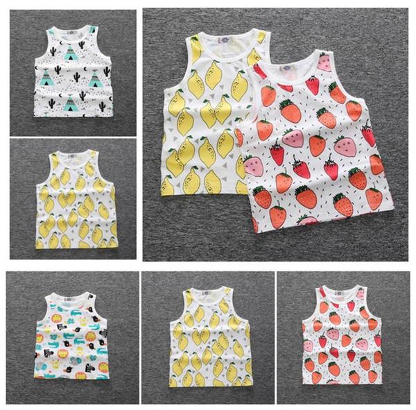 Kinder Kleinkind Jungen Mädchen Tank Weste Tops Frucht Wassermelone Ananas Druck Kinder Baby T Shirt Sommer ärmellose Shirts A08