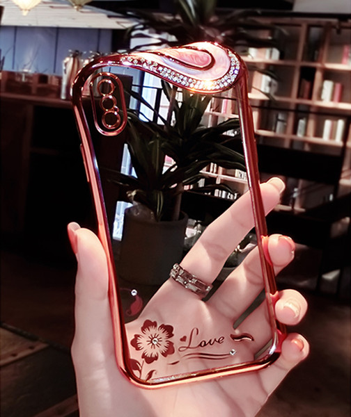 For IPhone X 8 7 Plus TPU Case Clear Ultra Thin for iphone 8plus 6 6s plus Diamond Rhinestone Back Soft Cover