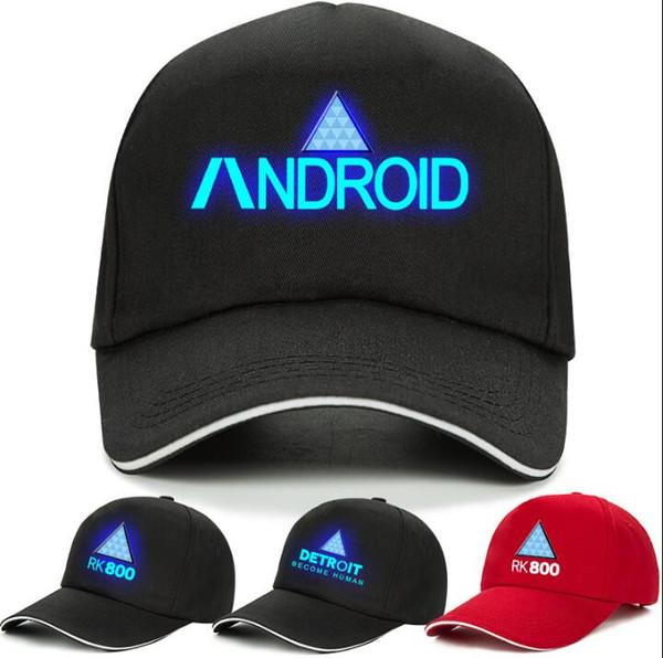 12 couleurs Detroit Hat Game Detroit devient humain unisexe imprimé Snapbacks RK800 Funny baseball lumineux casquette de baseball chapeaux CCA10482 20pcs