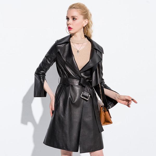 Genuine leather coat women autumn winter sheepskin jacket with belt female fashion elegant long design new arrival NPI 80925C
