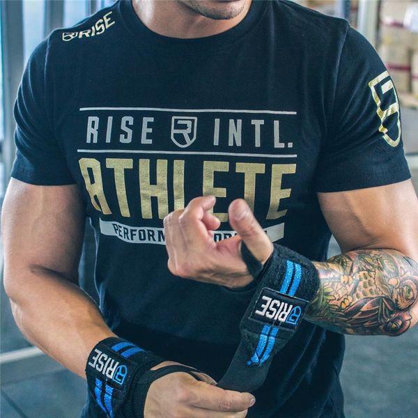 Erkek Yaz Spor Salonları Spor Marka T-Shirt Crossfit Vücut Geliştirme Slim Gömlek Baskılı O-Boyun Kısa Kollu Pamuk Tee Tops giyim