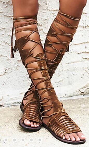 Kadın yaz diz yüksek çizmeler boho stil düz sandalet çapraz kravat gladyatör ayakkabı bohemia saçaklar düz topuklar kesimler lace up sandal ...