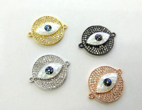 best selling Free ship--22mm CZ Micro Pave Round Disc Evil Eye Connector With Abalone Pearl Shell,Cubic Zirconia CZ Spacer Connetor 4pcs