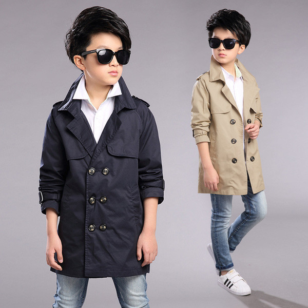 top popular classical boy trench coat solid gentleman style coat jacket for4-12years boys children kids causal outerwear clothes 2019