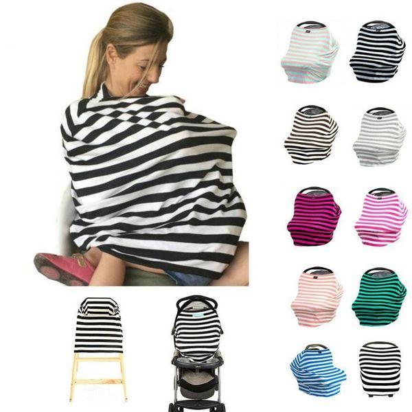 12 colores Multiuso Use Algodón Elástico Enfermería Amamantamiento Cubierta de privacidad Bufanda Manta Rayas Infinito Bufanda Bebé Asiento de coche Cubierta de enfermería