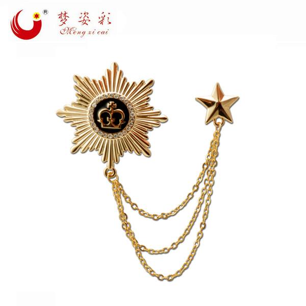 Doble lujo de oro octágono corona broche Homme Party Star Pin de la solapa masculina traje enlace broche cadena para la ropa hombres Broche Accessies