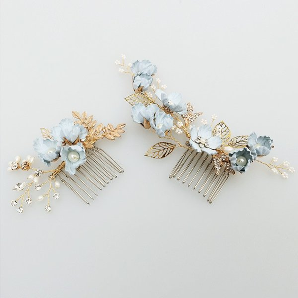 Charming Blue Flower Hair Comb Bridal Pins Pearls Handmade Wedding Jewelry Hair Vine Accessories Women Headpiece