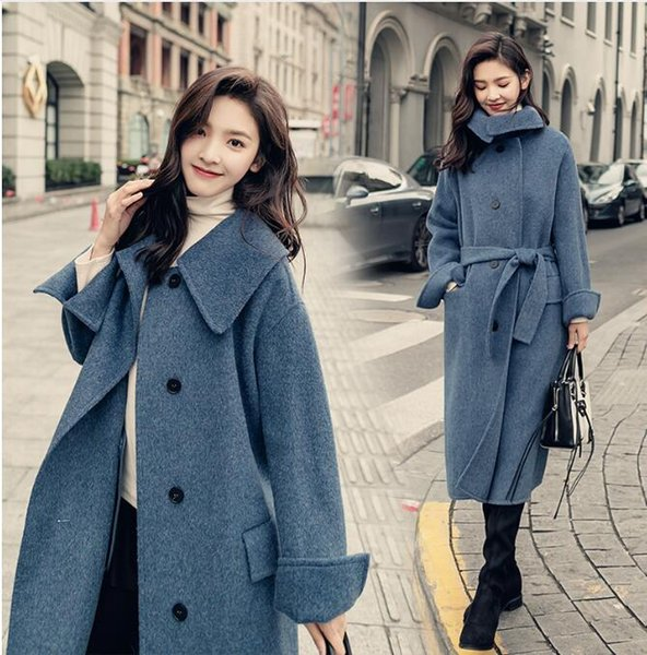 2018 abrigo de lana de invierno mujer azul sobre la rodilla engrosada cálidos abrigos de cachemira outwear mujer suelta mezcla de lana abrigo rompevientos