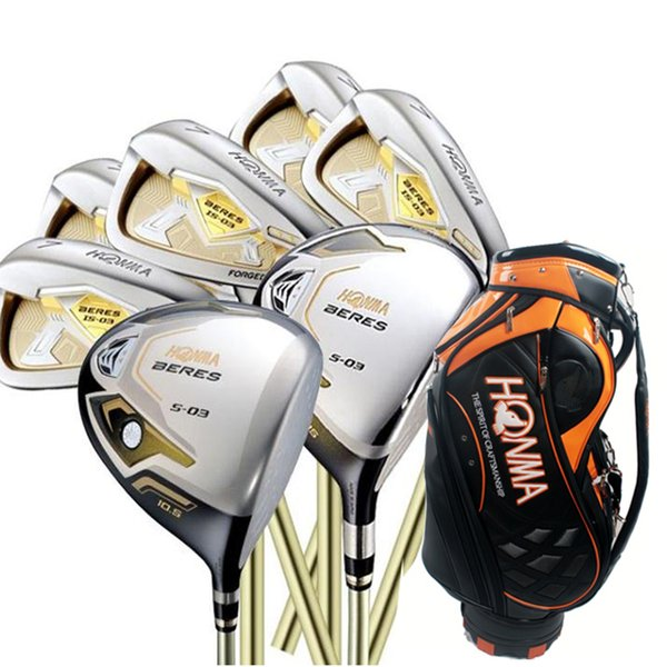 wholesale New mens Golf clubs HONMA S-03 3star Compelete set Golf Driver+3/5wood+irons+bag Graphite Golf shaft free shipping