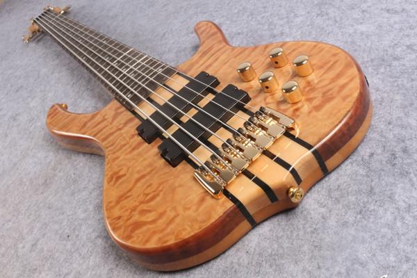 Rare Ken Smith 6 cordes naturel en érable matelassé Guitare basse électrique Micros actifs Boîte de batterie 9 V, 5 plis Wenge-Bubinga Sandwich Neck