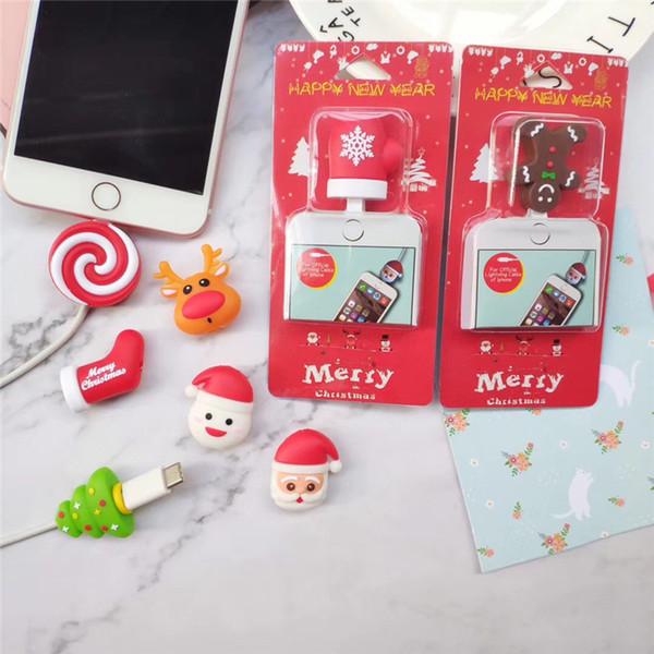 Protetor de Linha de dados Dos Desenhos Animados Animal USB Cabos Mordida de Natal Presente de Natal Meias Árvore Papai Noel Cobrindo Fio Protetor para iPhone Mordidas de Cabo