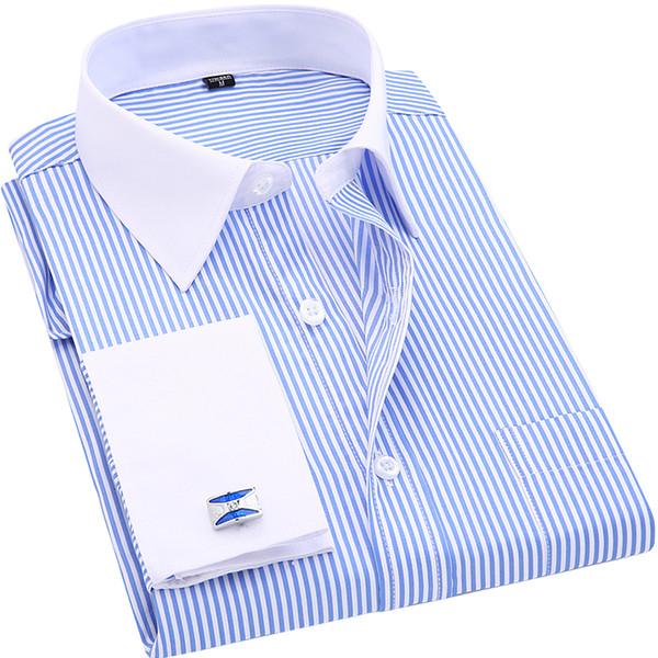 Hohe Qualität Gestreifte Männer Französisch Manschettenknöpfe Casual Dress Shirts Langärmeligen Weißen Kragen Design Stil Hochzeit Smoking Shirt 6XLY1882203
