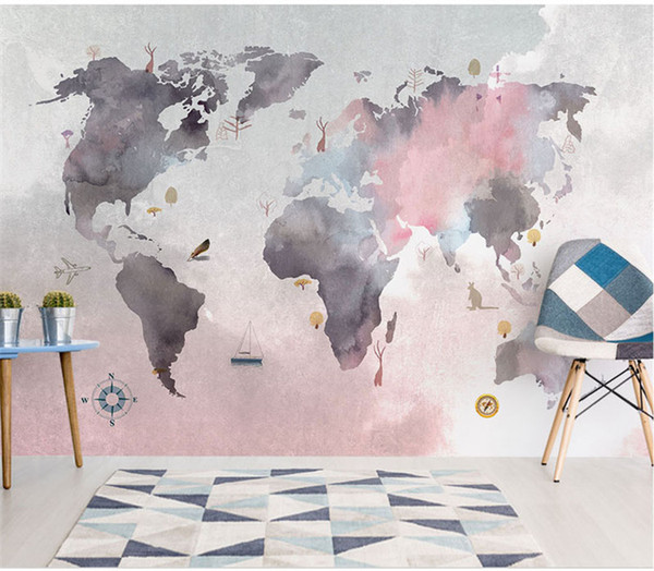 8D Paint Abstract World Map Wallpaper Mural For Baby Child Room Sofa  Backaground 3d Photo Mural 3d Wall Mural 3D Map Wall Paper Canada 2019 From  ...