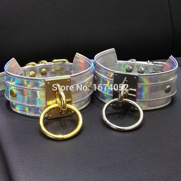 Punk Gothic 100% Handcrafted Chic Holographic Choker O Round Silver Gold Metal Laser Collar BDSM Sub Slave Necklace