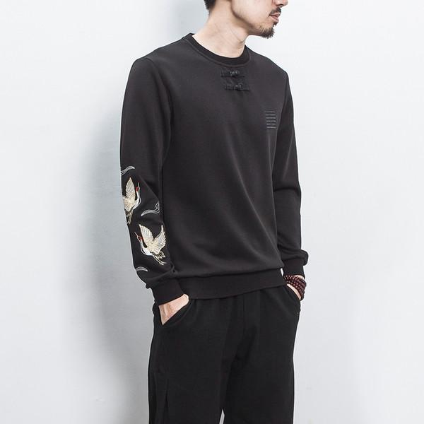 Qiujiweiyi cuello redondo placa del estilo chino abotonada chaqueta bordado camiseta versión coreana de la tendencia abrigo casual mens6522